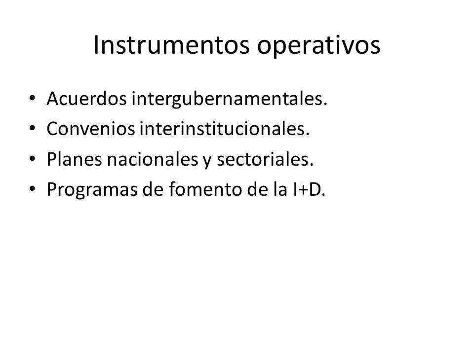 Instrumentos operativos Acuerdos intergubernamentales. Convenios interinstitucionales. Planes nacionales y sectoriales. Programas de fomento de la I+D