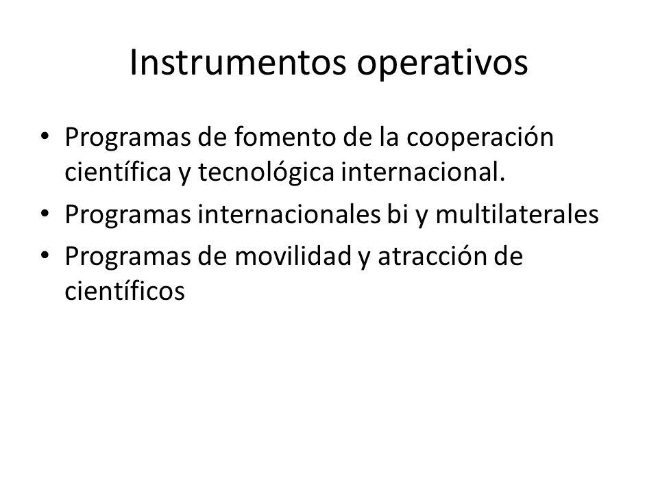 Instrumentos operativos Programas de fomento de la cooperación científica y tecnológica internacional.
