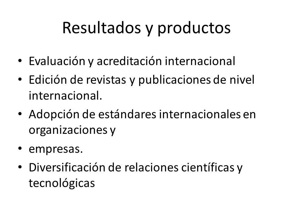 Resultados y productos Evaluación y acreditación internacional Edición de revistas y publicaciones de nivel internacional. Adopción de estándares inte
