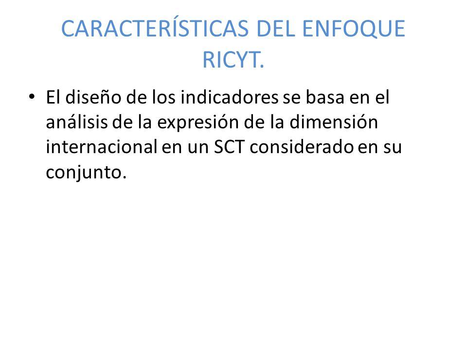 CARACTERÍSTICAS DEL ENFOQUE RICYT. El diseño de los indicadores se basa en el análisis de la expresión de la dimensión internacional en un SCT conside