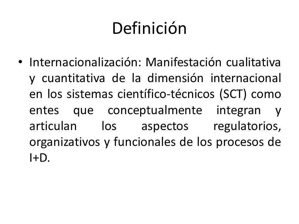 Definición Internacionalización: Manifestación cualitativa y cuantitativa de la dimensión internacional en los sistemas científico-técnicos (SCT) como entes que conceptualmente integran y articulan los aspectos regulatorios, organizativos y funcionales de los procesos de I+D.