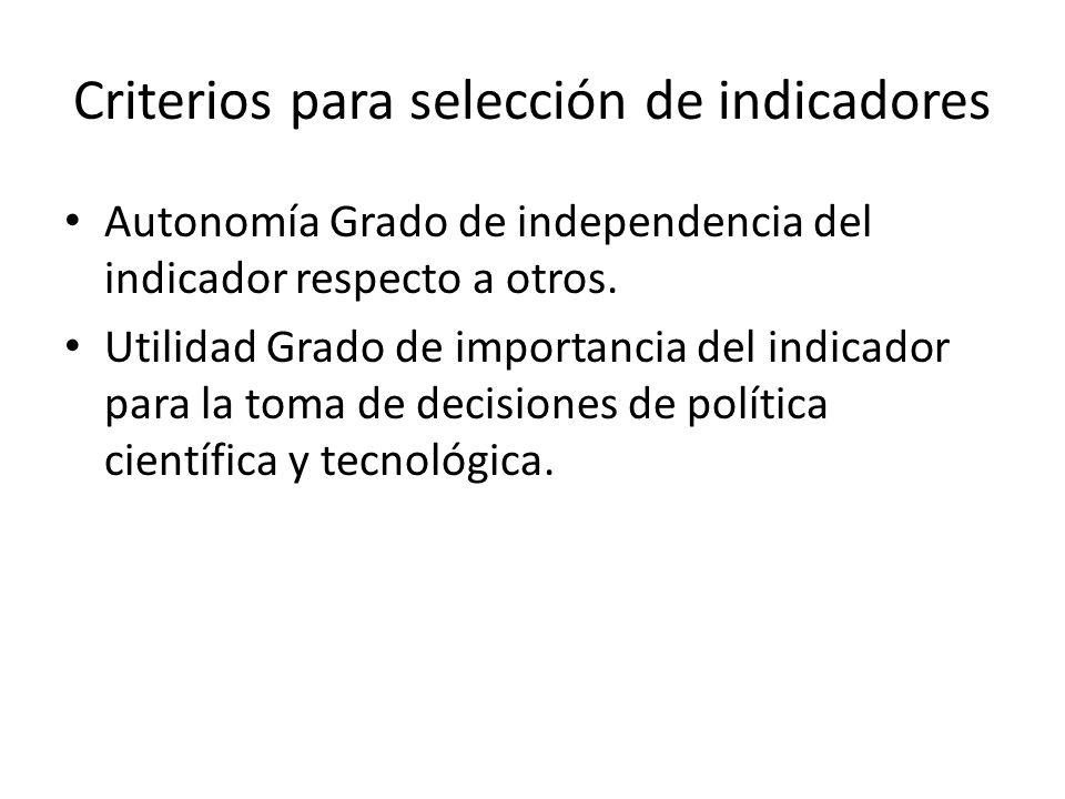 Criterios para selección de indicadores Autonomía Grado de independencia del indicador respecto a otros. Utilidad Grado de importancia del indicador p