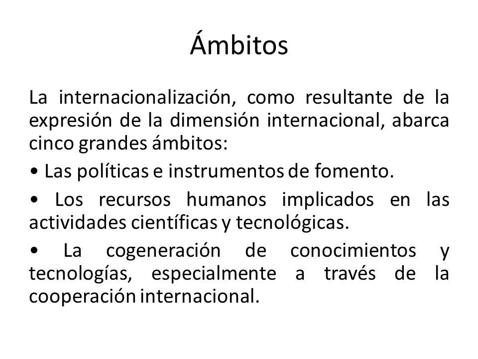 Ámbitos La internacionalización, como resultante de la expresión de la dimensión internacional, abarca cinco grandes ámbitos: Las políticas e instrume