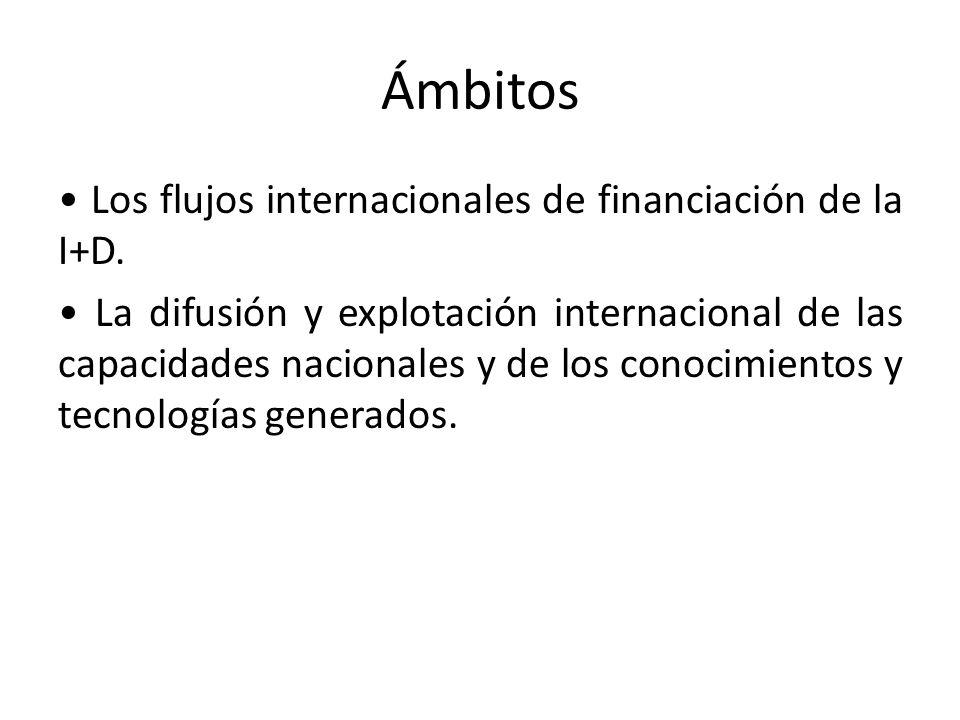 Ámbitos Los flujos internacionales de financiación de la I+D. La difusión y explotación internacional de las capacidades nacionales y de los conocimie