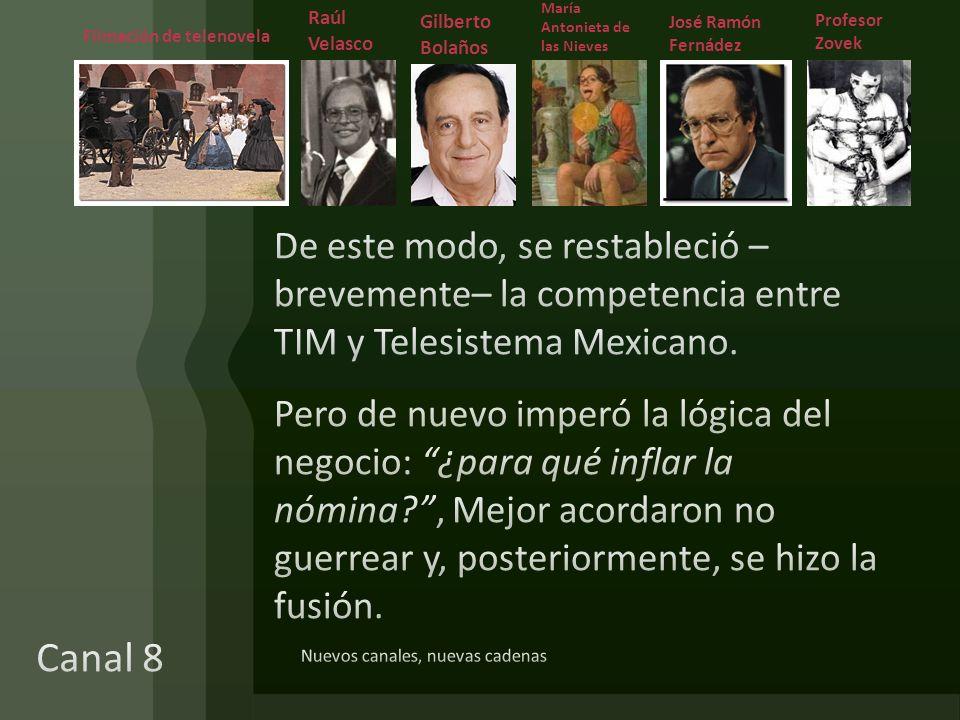 Nuevos canales, nuevas cadenas María Antonieta de las Nieves Raúl Velasco Gilberto Bolaños José Ramón Fernádez Profesor Zovek Filmación de telenovela