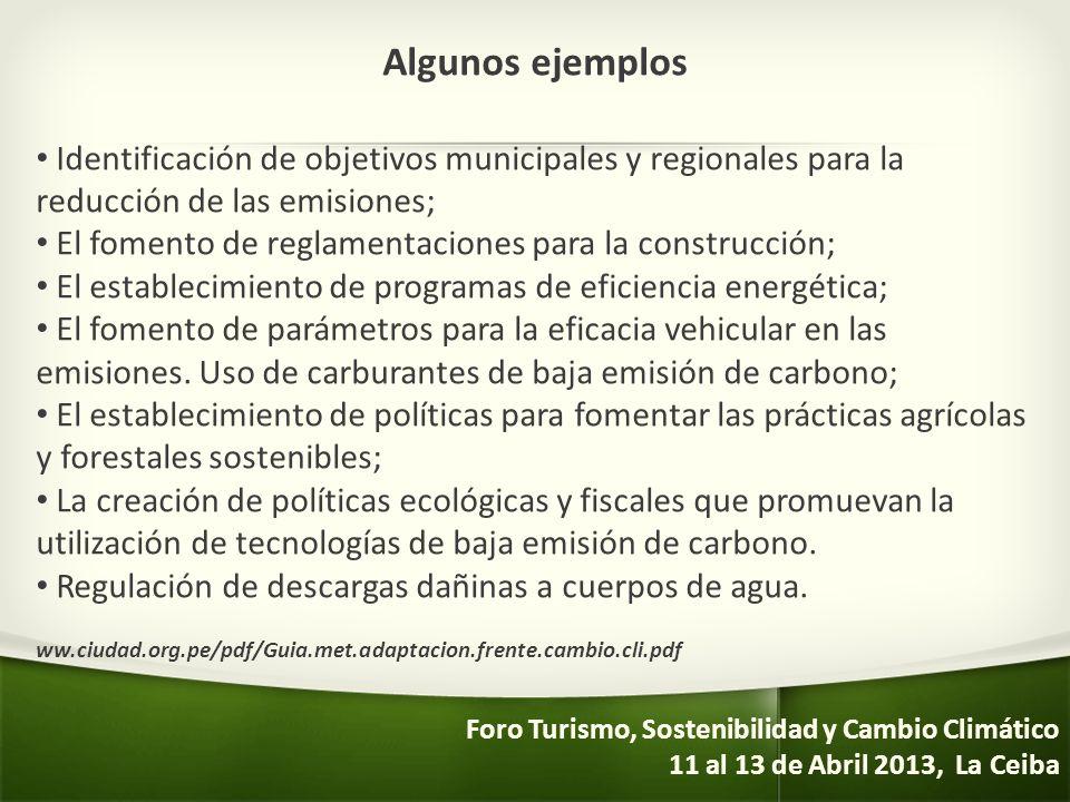 Algunos ejemplos Identificación de objetivos municipales y regionales para la reducción de las emisiones; El fomento de reglamentaciones para la const