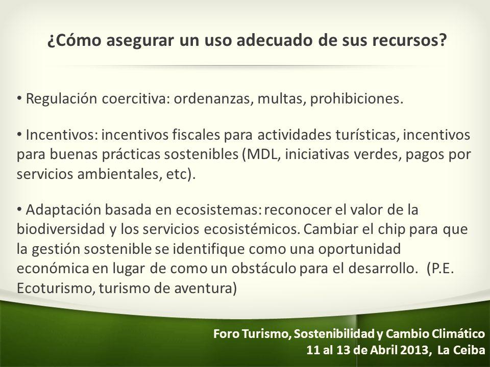 ¿Cómo asegurar un uso adecuado de sus recursos? Regulación coercitiva: ordenanzas, multas, prohibiciones. Incentivos: incentivos fiscales para activid