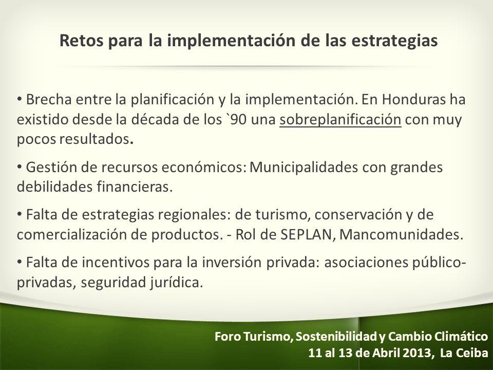 Retos para la implementación de las estrategias Brecha entre la planificación y la implementación. En Honduras ha existido desde la década de los `90