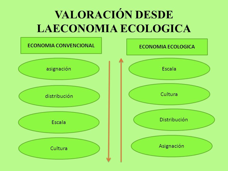 VALORACIÓN DESDE LAECONOMIA ECOLOGICA ECONOMIA CONVENCIONAL ECONOMIA ECOLOGICA asignación distribución Cultura Escala Asignación Distribución Cultura