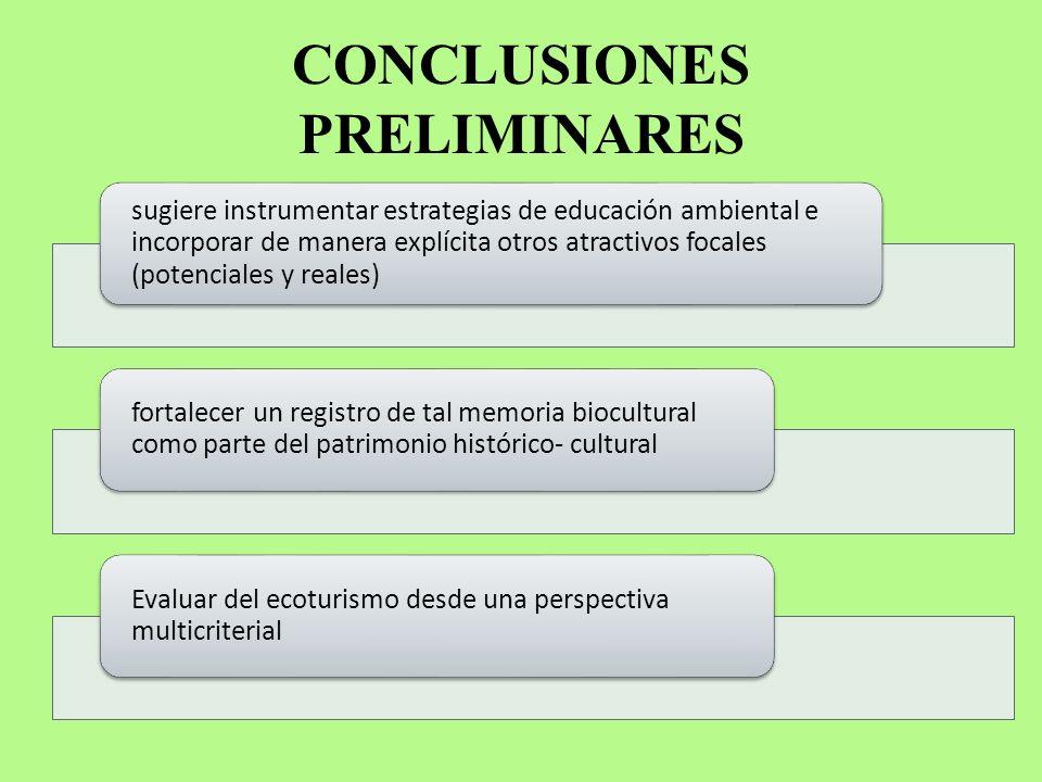 CONCLUSIONES PRELIMINARES sugiere instrumentar estrategias de educación ambiental e incorporar de manera explícita otros atractivos focales (potencial