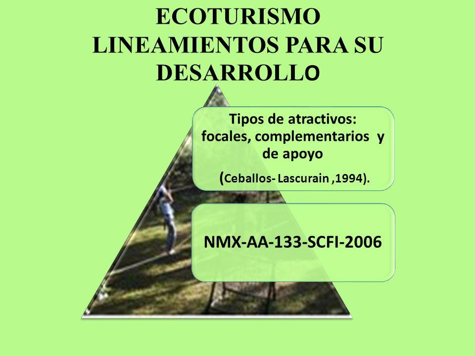 ECOTURISMO LINEAMIENTOS PARA SU DESARROLL O Tipos de atractivos: focales, complementarios y de apoyo ( Ceballos- Lascurain,1994). NMX-AA-133-SCFI-2006