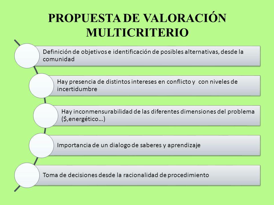 PROPUESTA DE VALORACIÓN MULTICRITERIO Definición de objetivos e identificación de posibles alternativas, desde la comunidad Hay presencia de distintos