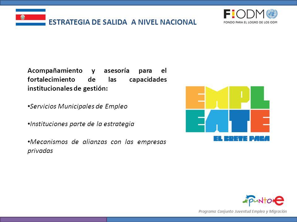 ESTRATEGIA DE SALIDA A NIVEL NACIONAL Acompañamiento y asesoría para el fortalecimiento de las capacidades institucionales de gestión: Servicios Munic