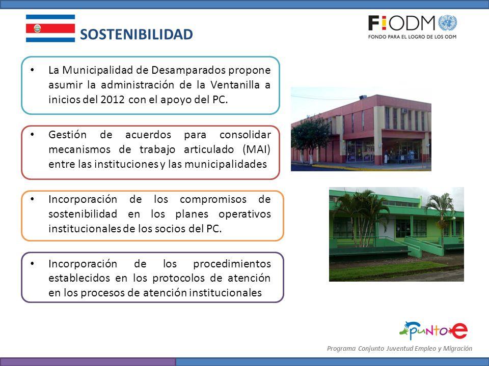 La Municipalidad de Desamparados propone asumir la administración de la Ventanilla a inicios del 2012 con el apoyo del PC. Gestión de acuerdos para co