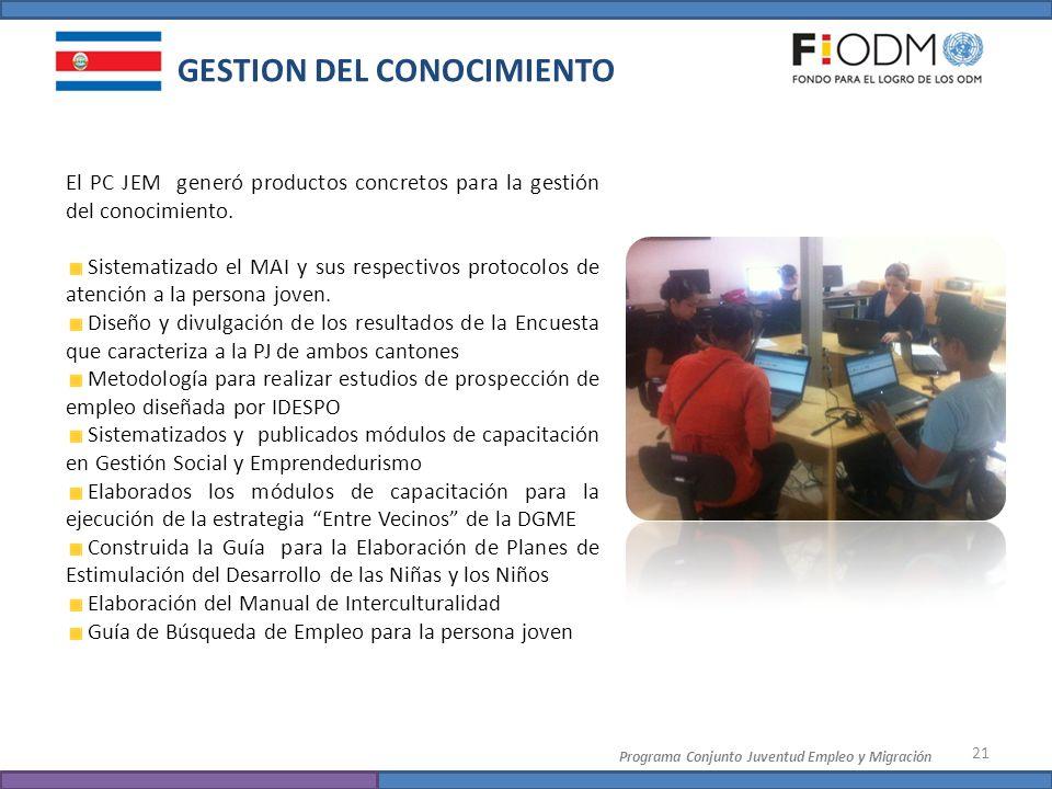 21 Programa Conjunto Juventud Empleo y Migración GESTION DEL CONOCIMIENTO El PC JEM generó productos concretos para la gestión del conocimiento. Siste
