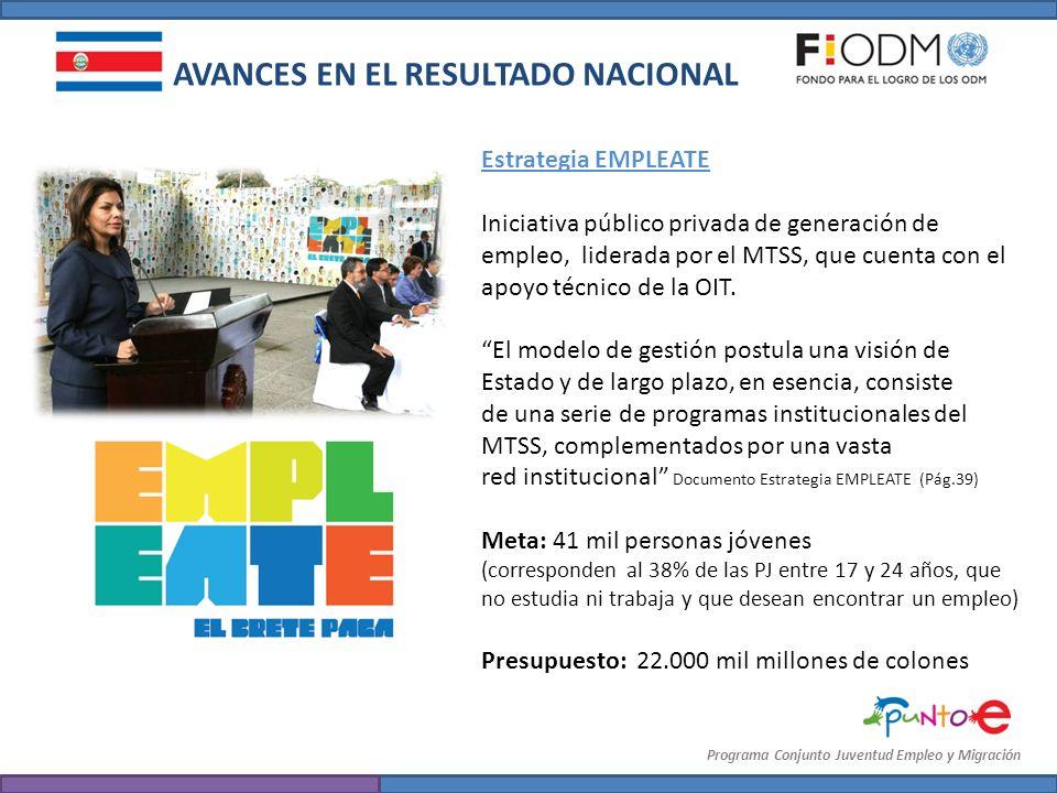 Programa Conjunto Juventud Empleo y Migración AVANCES EN EL RESULTADO NACIONAL Estrategia EMPLEATE Iniciativa público privada de generación de empleo,