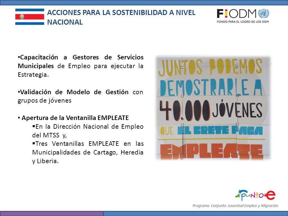 Programa Conjunto Juventud Empleo y Migración Capacitación a Gestores de Servicios Municipales de Empleo para ejecutar la Estrategia. Validación de Mo