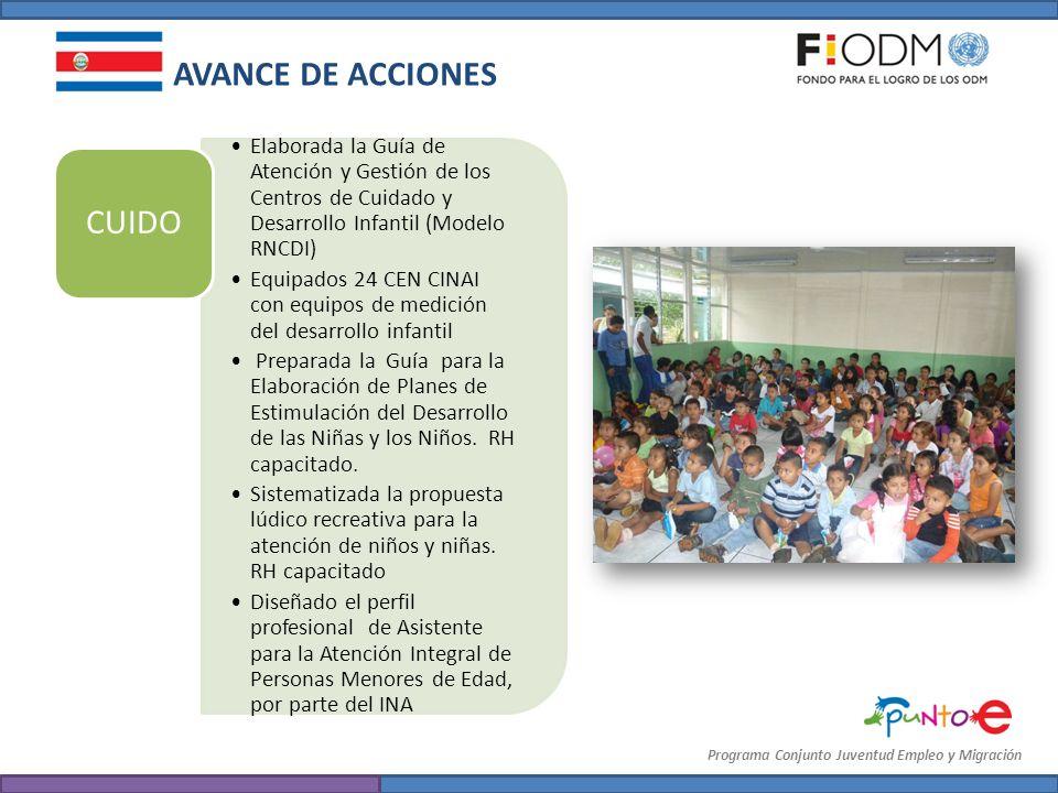 Programa Conjunto Juventud Empleo y Migración Elaborada la Guía de Atención y Gestión de los Centros de Cuidado y Desarrollo Infantil (Modelo RNCDI) E