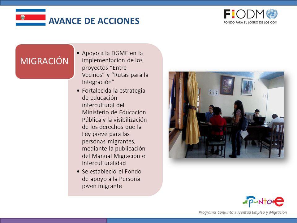 Programa Conjunto Juventud Empleo y Migración AVANCE DE ACCIONES Apoyo a la DGME en la implementación de los proyectos Entre Vecinos y Rutas para la I