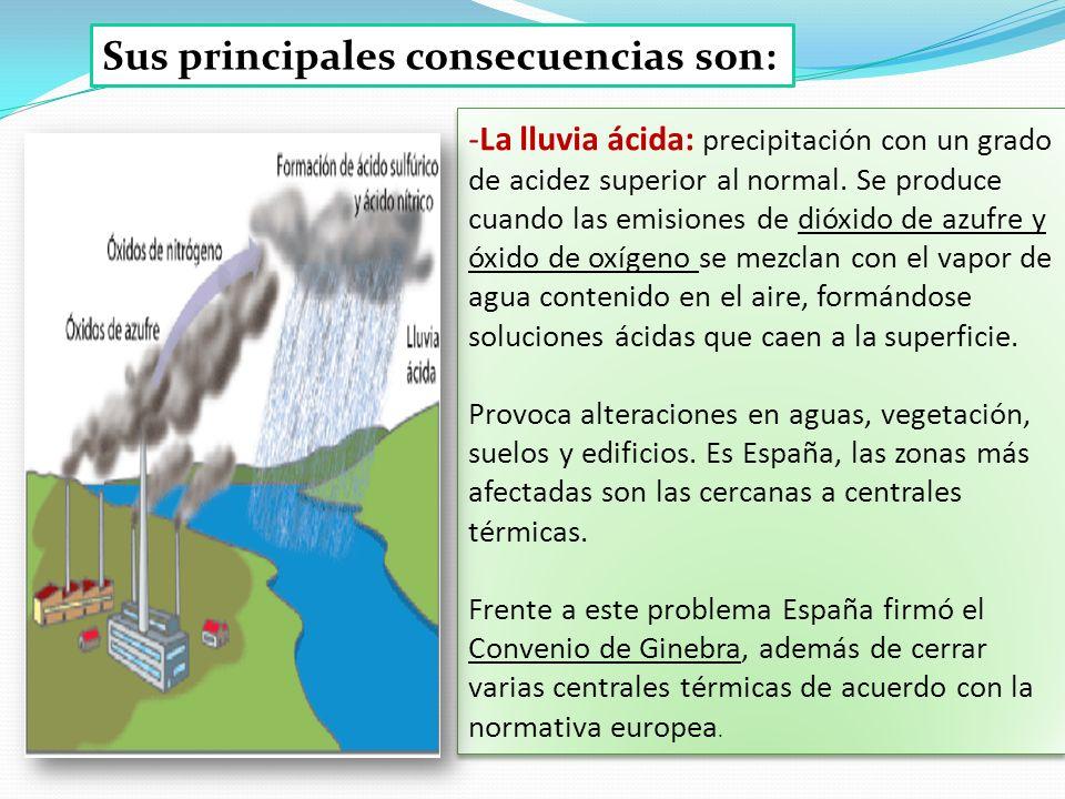 Sus principales consecuencias son: -La lluvia ácida: precipitación con un grado de acidez superior al normal. Se produce cuando las emisiones de dióxi
