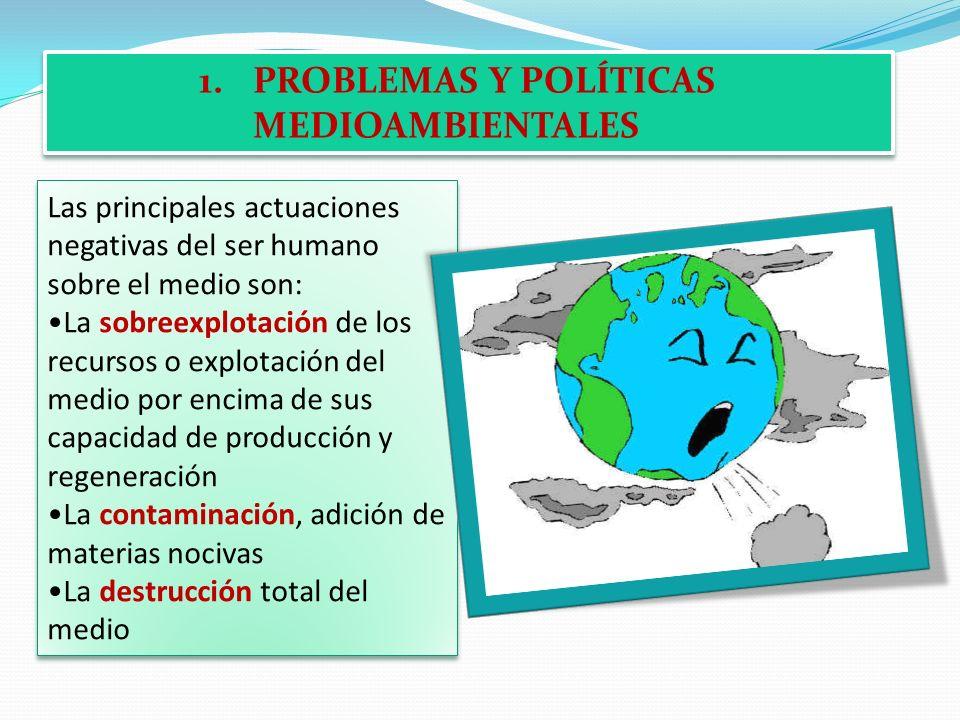 1.PROBLEMAS Y POLÍTICAS MEDIOAMBIENTALES Las principales actuaciones negativas del ser humano sobre el medio son: La sobreexplotación de los recursos