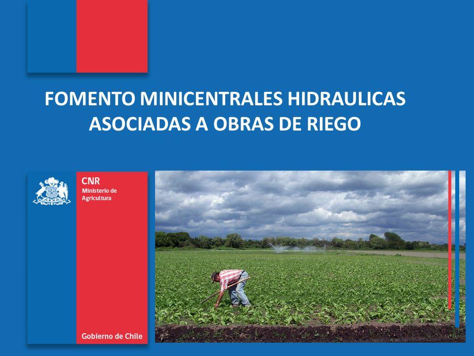 Comisión Nacional de Riego www.cnr.cl FOMENTO MINICENTRALES HIDRAULICAS ASOCIADAS A OBRAS DE RIEGO CENTRAL LIRCAY (18 MW – 130 GWH al año) Tubería de alta presión (acero 2,7 m diámetro, 500 m largo) y rápido de descarga (600 m largo)