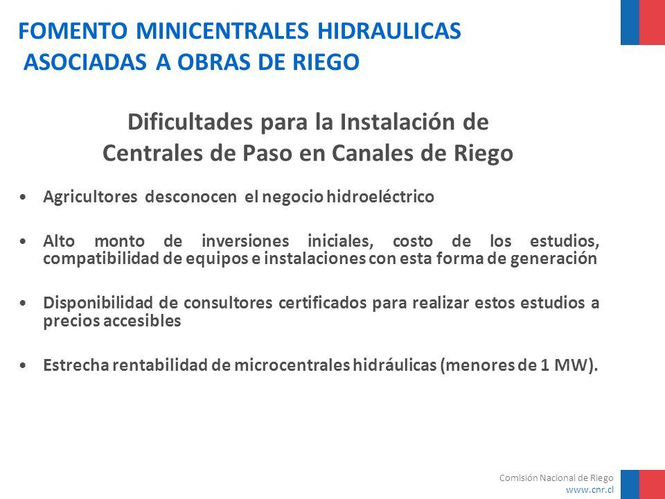 Comisión Nacional de Riego www.cnr.cl FOMENTO MINICENTRALES HIDRAULICAS ASOCIADAS A OBRAS DE RIEGO Dificultades para la Instalación de Centrales de Pa