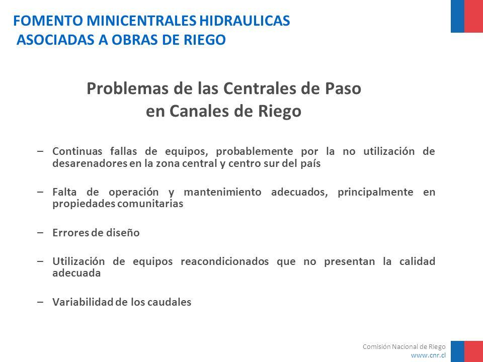 Comisión Nacional de Riego www.cnr.cl FOMENTO MINICENTRALES HIDRAULICAS ASOCIADAS A OBRAS DE RIEGO Problemas de las Centrales de Paso en Canales de Ri