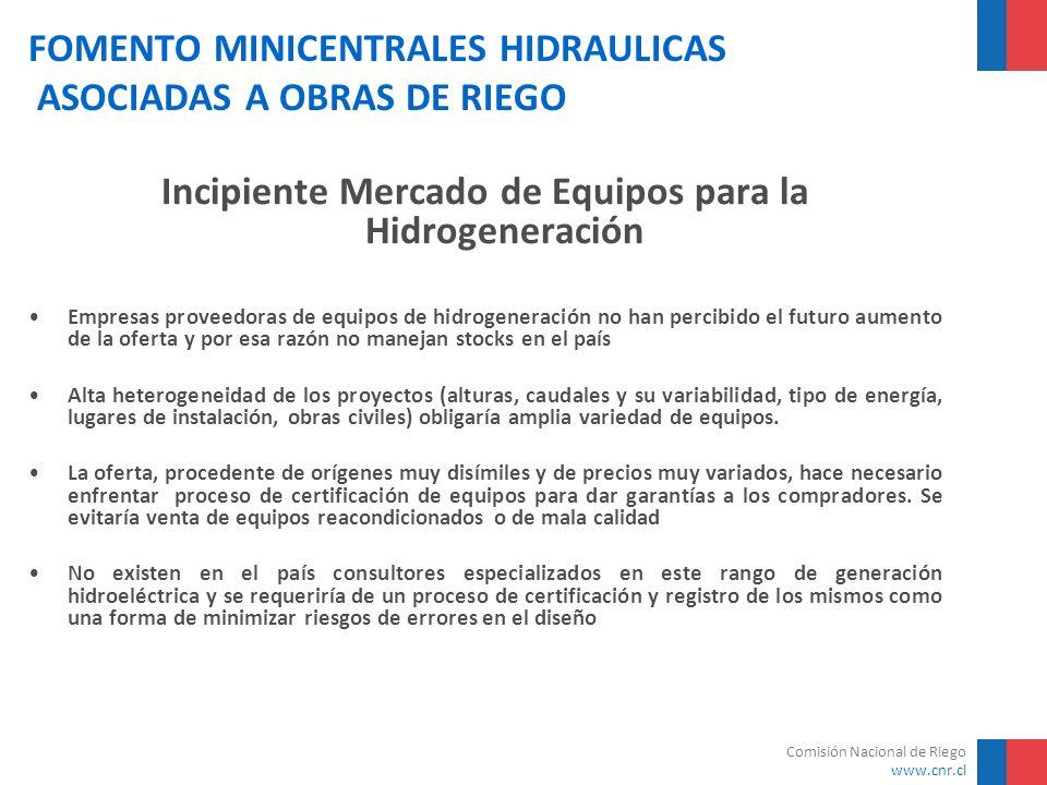 Comisión Nacional de Riego www.cnr.cl FOMENTO MINICENTRALES HIDRAULICAS ASOCIADAS A OBRAS DE RIEGO Incipiente Mercado de Equipos para la Hidrogeneraci