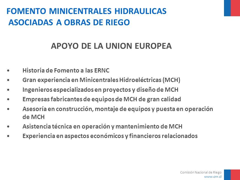 Comisión Nacional de Riego www.cnr.cl FOMENTO MINICENTRALES HIDRAULICAS ASOCIADAS A OBRAS DE RIEGO APOYO DE LA UNION EUROPEA Historia de Fomento a las