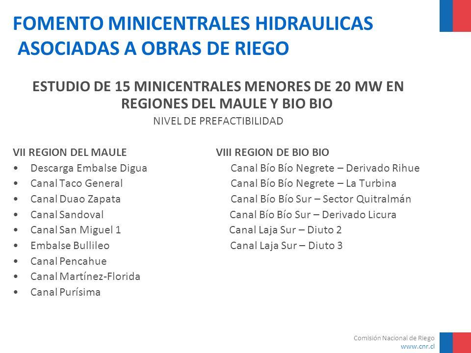 Comisión Nacional de Riego www.cnr.cl FOMENTO MINICENTRALES HIDRAULICAS ASOCIADAS A OBRAS DE RIEGO ESTUDIO DE 15 MINICENTRALES MENORES DE 20 MW EN REG