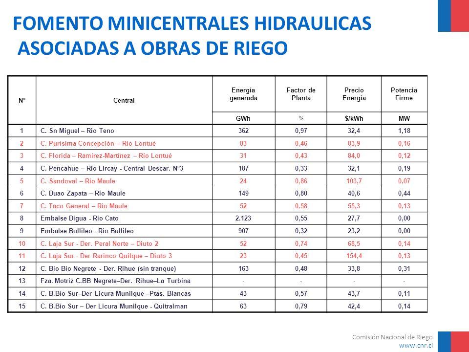 Comisión Nacional de Riego www.cnr.cl FOMENTO MINICENTRALES HIDRAULICAS ASOCIADAS A OBRAS DE RIEGO NºCentral Energía generada Factor de Planta Precio