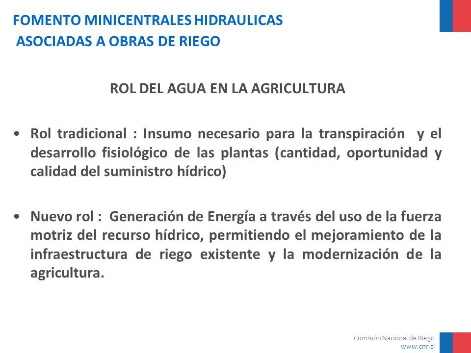 Comisión Nacional de Riego www.cnr.cl FOMENTO MINICENTRALES HIDRAULICAS ASOCIADAS A OBRAS DE RIEGO Antecedentes Las condiciones hidrológicas y topográficas de Chile son favorables para la generación hidroeléctrica en pequeña escala Consumo energía eléctrica del sector agrícola desde año 1997 se incrementa a tasas del 10% anual Altos precios de energía son obstáculo a procesos de tecnificación agrícola