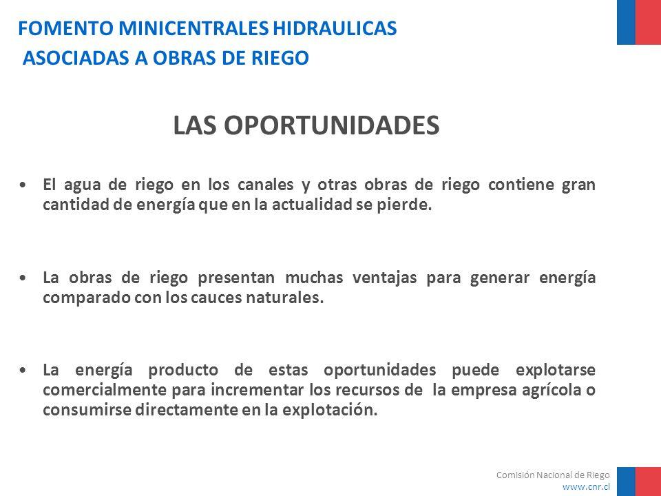 Comisión Nacional de Riego www.cnr.cl FOMENTO MINICENTRALES HIDRAULICAS ASOCIADAS A OBRAS DE RIEGO VENTAJAS DE LAS OBRAS DE RIEGO PARA GENERAR ENERGÍA Estabilidad de los caudales Predictibilidad de los caudales Facilidad para intervenir los cursos Posibilidad de incrementar caudales mediante arriendo aguas en periodos sin riego: mercado del agua Cuenta con sistemas de regulación y control del agua: atenuar las crecidas y disminuir el transporte de sedimentos Diferencias de cota, que se pueden lograr con mayor facilidad en los cauces artificiales Derechos de agua más perfeccionados Posibilidad de armonizar las obras de regadío con las obras de generación necesaria
