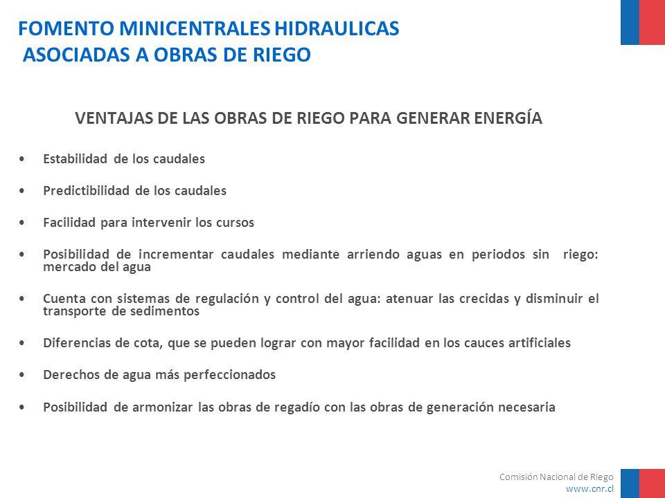Comisión Nacional de Riego www.cnr.cl FOMENTO MINICENTRALES HIDRAULICAS ASOCIADAS A OBRAS DE RIEGO PARA APROVECHAR ESTE POTENCIAL CNR y el Ministerio de Energía (Ex CNE) suscriben Convenio de Cooperación Mutua para fomentar Minicentrales Hidroeléctricas Asociadas a Obras de Riego Primer Catastro entre Regiones de Atacama y de la Araucanía: –866 MW en Minicentrales mayores de 2 MW –537 MW en Minicentrales menores de 2 MW –15 Estudios de Prefactibilidad en Regiones del Maule y del Bío Bío con Asesoría de Expertos de la Unión Europea