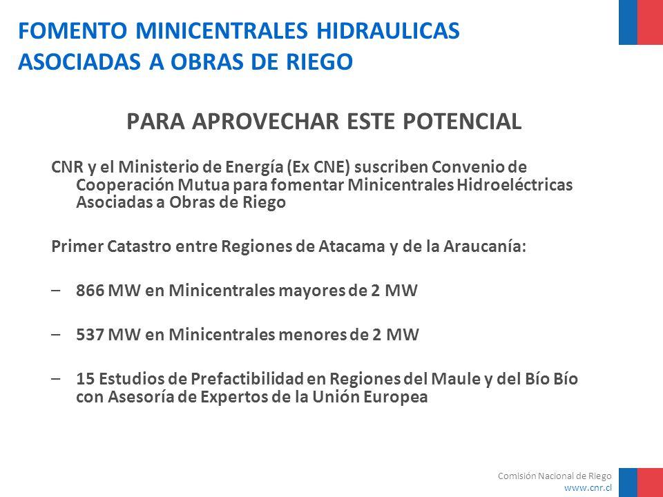 Comisión Nacional de Riego www.cnr.cl FOMENTO MINICENTRALES HIDRAULICAS ASOCIADAS A OBRAS DE RIEGO PARA APROVECHAR ESTE POTENCIAL CNR y el Ministerio
