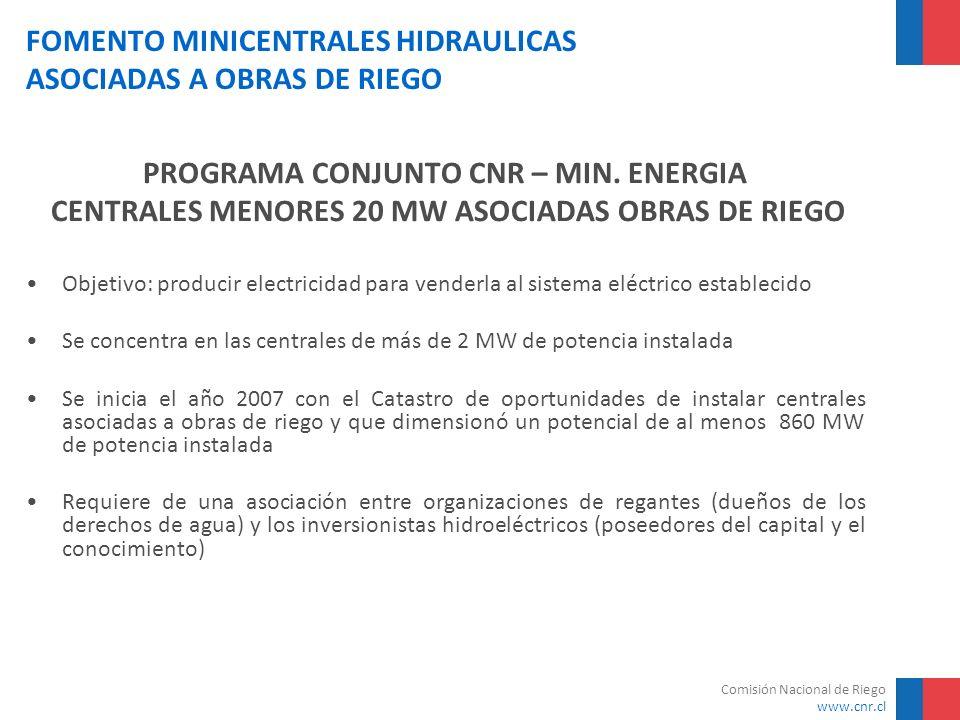 Comisión Nacional de Riego www.cnr.cl FOMENTO MINICENTRALES HIDRAULICAS ASOCIADAS A OBRAS DE RIEGO NºCentral Desnivel Neto Caudal Turbinable Potencia Firme mm3/sMW 1C.