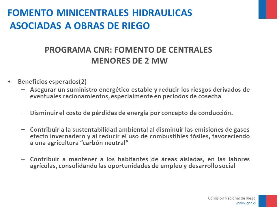 Comisión Nacional de Riego www.cnr.cl FOMENTO MINICENTRALES HIDRAULICAS ASOCIADAS A OBRAS DE RIEGO NºCentral Origen Equipos Io/PVANTIR mill US$/Mwmill $% 1C.