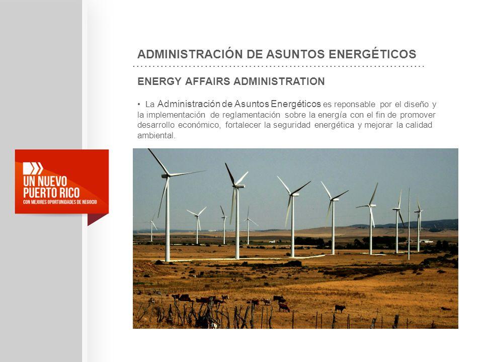 ENERGY AFFAIRS ADMINISTRATION La Administración de Asuntos Energéticos es reponsable por el diseño y la implementación de reglamentación sobre la ener