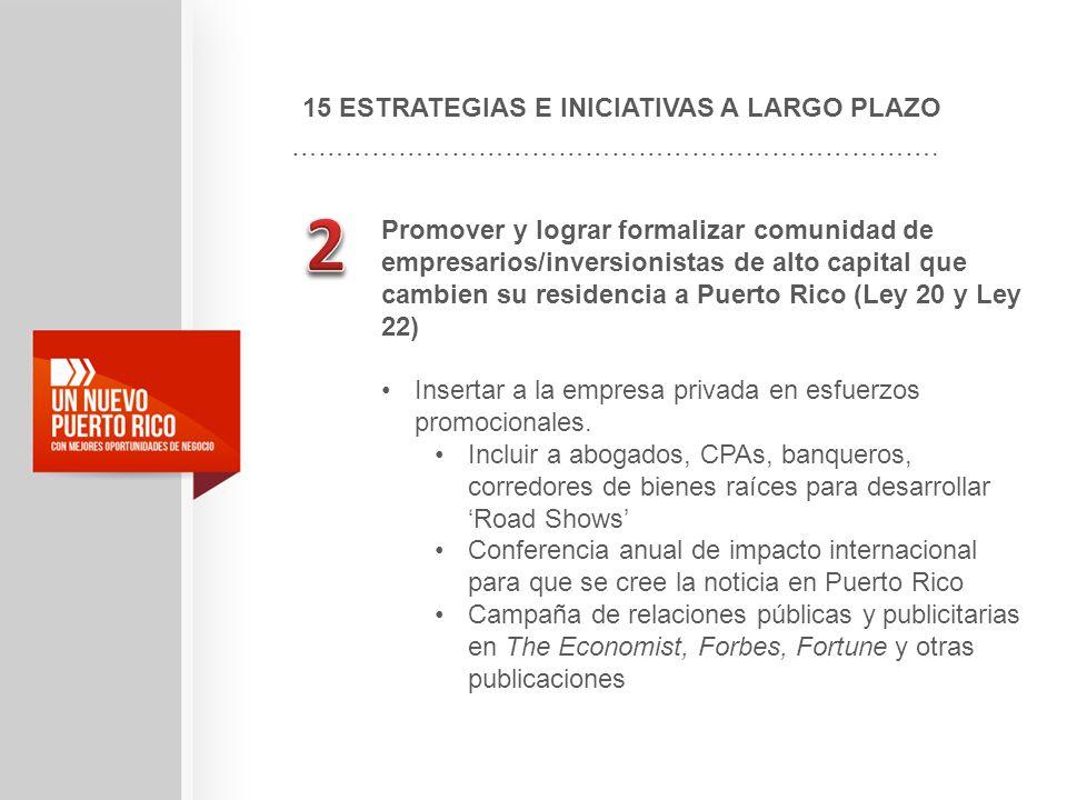 15 ESTRATEGIAS E INICIATIVAS A LARGO PLAZO ………………………………………………………………. Promover y lograr formalizar comunidad de empresarios/inversionistas de alto capi