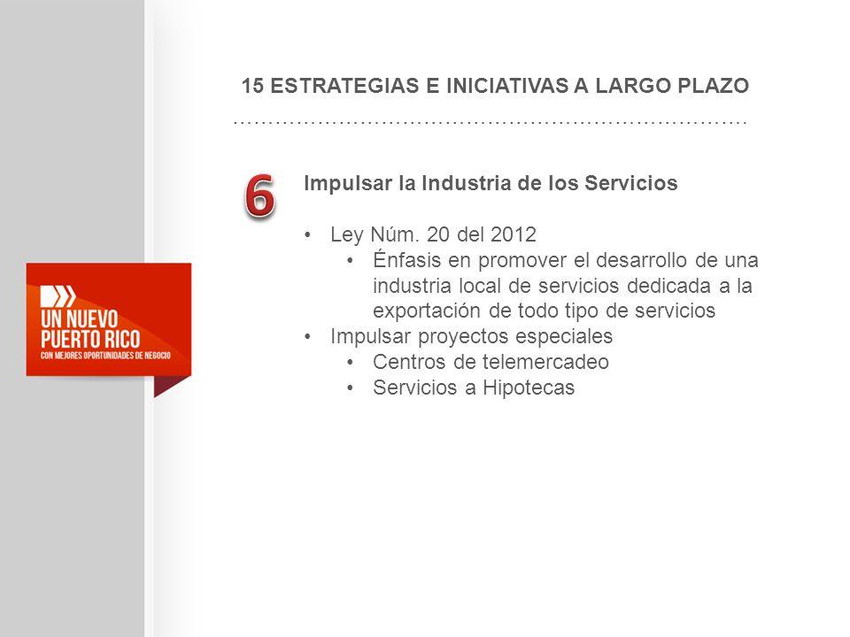15 ESTRATEGIAS E INICIATIVAS A LARGO PLAZO ………………………………………………………………. Impulsar la Industria de los Servicios Ley Núm. 20 del 2012 Énfasis en promover e