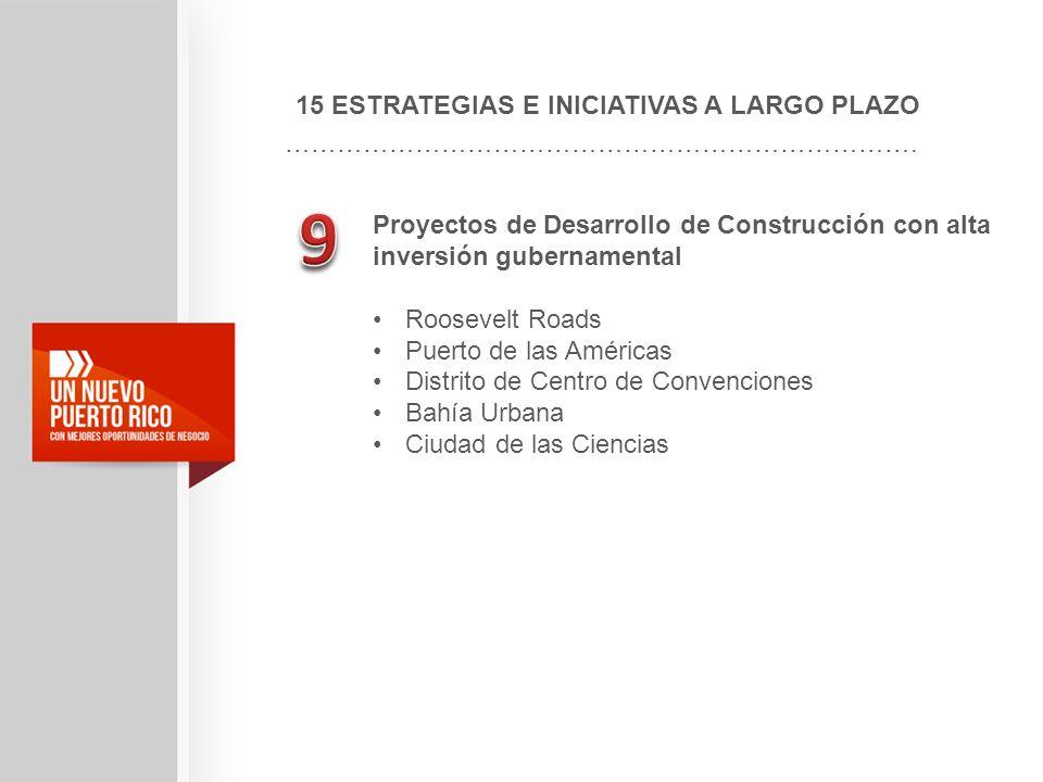 15 ESTRATEGIAS E INICIATIVAS A LARGO PLAZO ………………………………………………………………. Proyectos de Desarrollo de Construcción con alta inversión gubernamental Roosevel