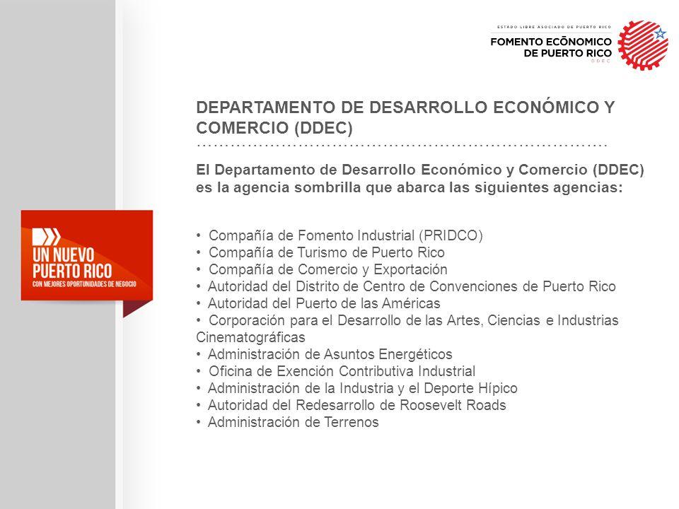 El Departamento de Desarrollo Económico y Comercio (DDEC) es la agencia sombrilla que abarca las siguientes agencias: Compañía de Fomento Industrial (