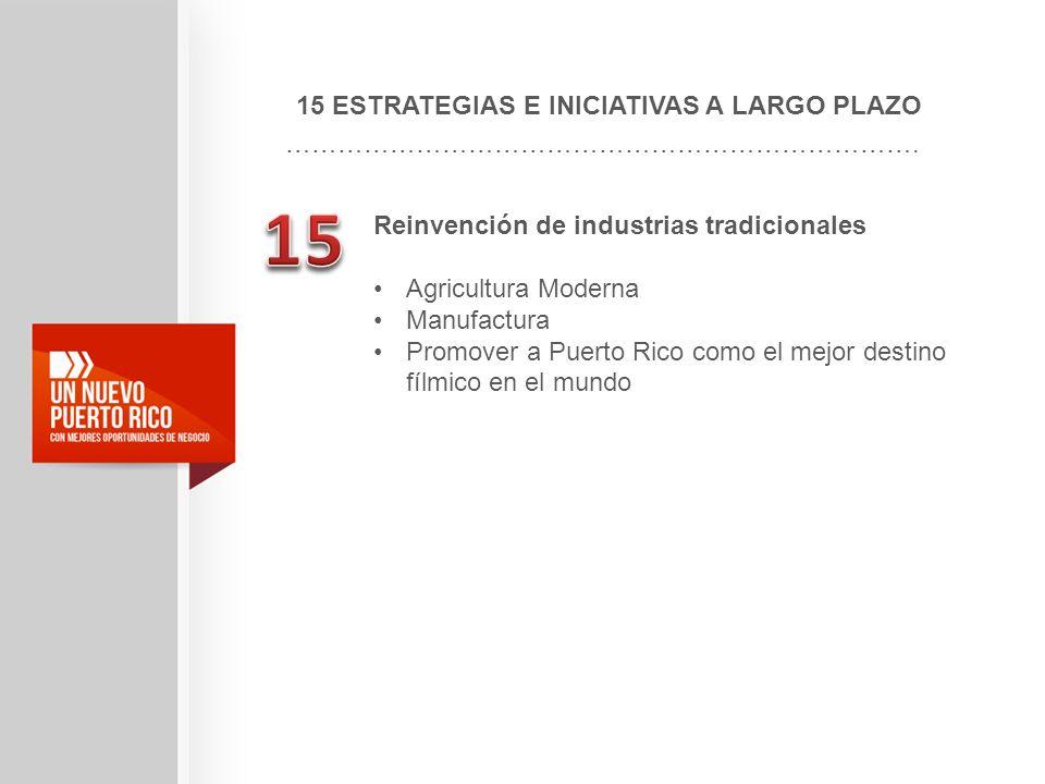 15 ESTRATEGIAS E INICIATIVAS A LARGO PLAZO ………………………………………………………………. Reinvención de industrias tradicionales Agricultura Moderna Manufactura Promover