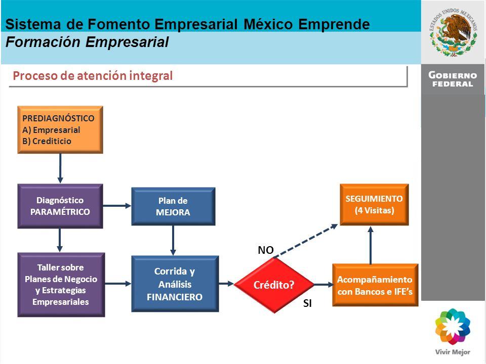 SEGUIMIENTO (4 Visitas) Plan de MEJORA Corrida y Análisis FINANCIERO Diagnóstico PARAMÉTRICO PREDIAGNÓSTICO A) Empresarial B) Crediticio Taller sobre