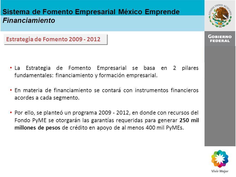 17% 150% 16% 150% Derrama crediticia de 250 mil mdp 400 mil empresas con financiamiento Sistema de Fomento Empresarial México Emprende Programa de Financiamiento 2009 - 2012