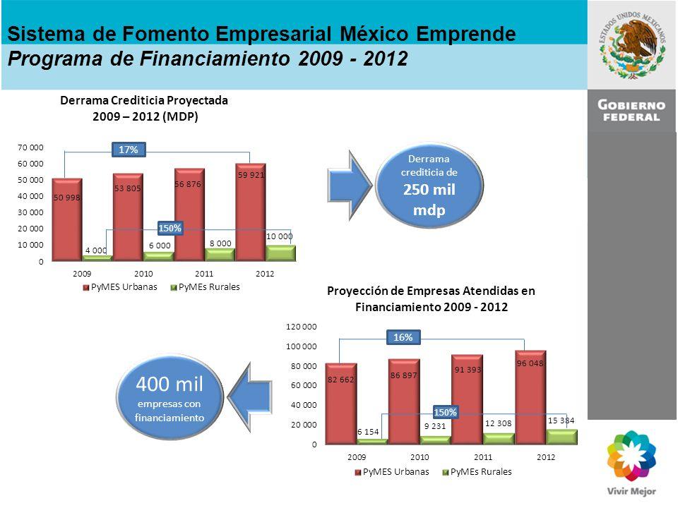 Sistema de Fomento Empresarial México Emprende Garantías Requeridas 2009 - 2012 51% 11,750 mdp de recursos frescos para garantías 3,450 mdp de revolvencia 15,200 mdp totales