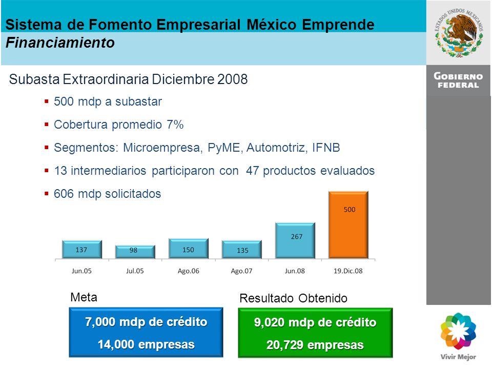 Mismas condiciones subasta extraordinaria Subastas 2009: marzo y septiembre Sujeto a la dispersión de recursos del PEF Recursos a Subastar: 500 mdp Colocación Estimada: 7,000 mdp Empresas14,000 SegmentosIntermediarios PymeBancos e IFNB Equipamiento Bancos y Especializados Automotriz Bancos y Especializados Transporte Bancos y Especializados MicroempresaBancos Sistema de Fomento Empresarial México Emprende Financiamiento