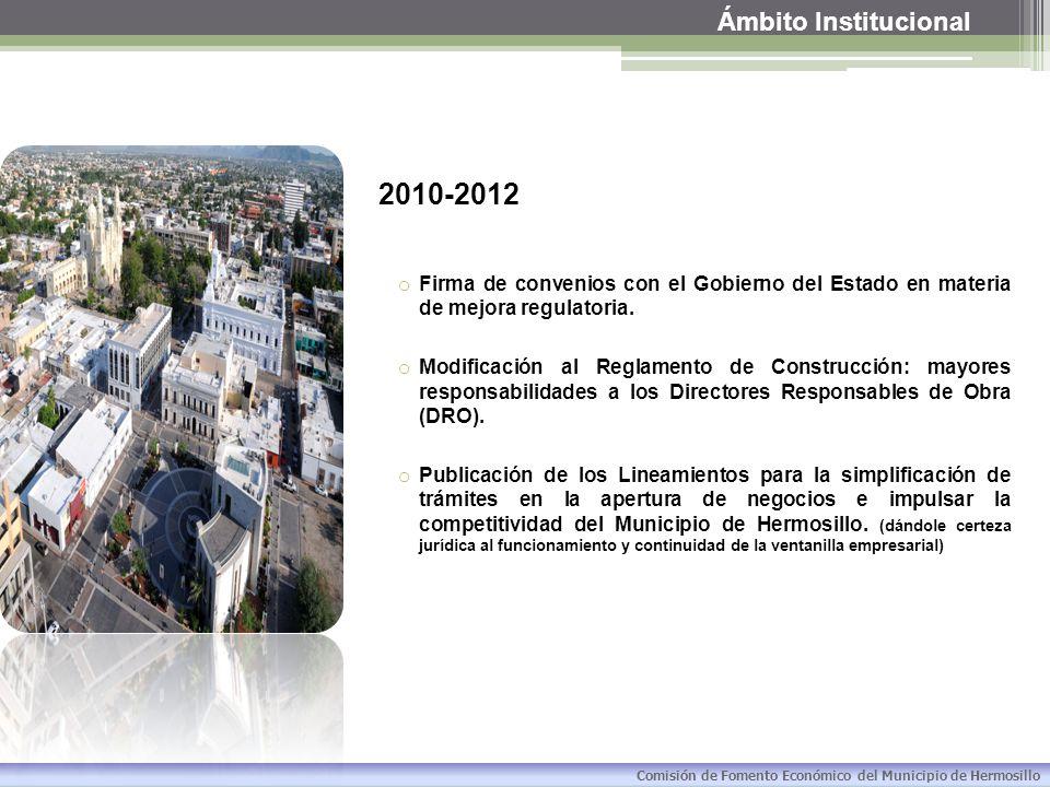 Ámbito Institucional Comisión de Fomento Económico del Municipio de Hermosillo 2013