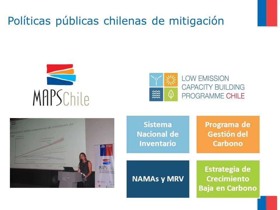 Políticas públicas chilenas de mitigación Sistema Nacional de Inventario Programa de Gestión del Carbono NAMAs y MRV Estrategia de Crecimiento Baja en Carbono